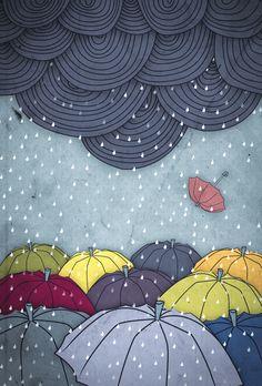 rainy day and many umbrella