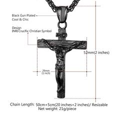 Stainless Steel Jesus Christ Cross Crucifix Men's Necklace Black Gun Plated - Necklaces & Pendants
