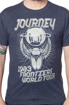 Get the joy of rediscovering your favorite rock band with this Journey Frontiers World Tour t-shirt. Journey 1993 Frontiers World Tour. Rock Shirts, Band Shirts, Band Outfits, Cool Style, My Style, Tour T Shirts, Retro Outfits, New Wave, Cool Tees