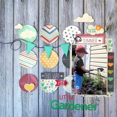#papercraft #scrapbook #layout.  Little Gardener - Scrapbook.com - Machine stitch through patterned paper circles to create your own background.