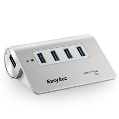 EasyAcc® Aluminum Superspeed USB 3.0 4 Port Bus-Powered Hub for Mac,iMac,MacBook Pro Air,Ultrabooks,Microsoft Surface RT,Laptops,Raspberry pi,and any PC,Silver Surface Rt, Office Works, Ipad, Usb Hub, Microsoft Surface, Macbook Pro, Computer Accessories, Usb Flash Drive, Raspberry