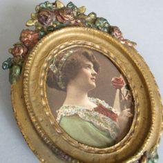 """Antique c1900 Miniature 5"""" Painted Cast Iron Frame ROSE SWAGS Miniature Portrait"""