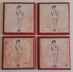Brighten up your dining/living are with these timeless vintage coasters. A decorative and functional set of handmade coasters featuring a vintage bathing suit beauty. MDF base white background, red edges, finished with a high gloss varnish. 10cm square. Set of 4.