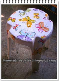This stall has been covered with dc-fix contact paper in a colourful butterfly… Sticky Vinyl, Dc Fix, Contact Paper, Inspire Others, Vinyl Designs, Furniture Makeover, My Works, How To Find Out, Cover