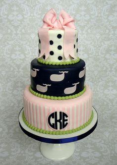 Preppy whale first birthday cake.