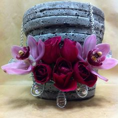 #floral jewelry #orchids #roses #wedding Wedding Bouquets, Orchids, Roses, Floral, Flowers, Jewelry, Jewlery, Wedding Brooch Bouquets, Pink