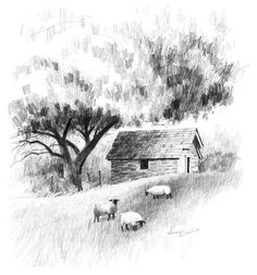 A Landscape Drawing Lesson AND Free Caran d'Ache Pencils!