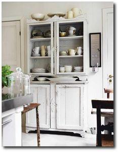 Swedish White Painted Cabinet  Featured in Skona Hem Magazine - wire cabinet doors