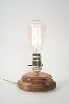 Pedestal Lamp I- Minimalist Table Lamp, Exposed Edison Bulb Lighting, Natural Oak