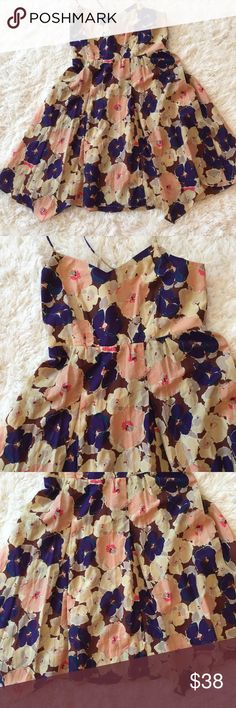 Anthropologie Eloise Floral Silk Sundress Sz Small Floral pattern in shades of brown, blue, purple, coral, gray, green, lilac. Spaghetti strap X back. 60% cotton, 40% silk. Unique, asymmetrical hem.  Elastic in back allows for some stretch in the bust area.  Machine wash. Size small.  Measurements: bust 32, waist 30, length approximately 31. Anthropologie Dresses