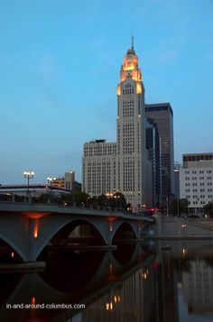 LeVeque Tower and Scioto River in Columbus, Ohio. I worked for Dawson Personnel when I was 18 in LT.