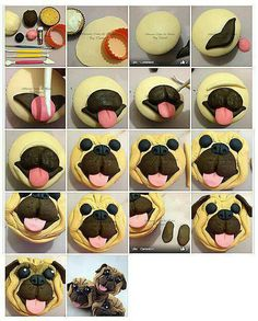 How to make a Pug cupcake. Easy fondant picture tutorial, fun dog cakes for kids-OSCAR! Pug Cupcakes, Pug Cake, Animal Cupcakes, Cupcake Cakes, Car Cakes, Fondant Figures, Fondant Cakes, Fondant Baby, Cupcakes Decorados