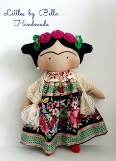 Mexican doll small dolls fiesta happy dolls mexican unique portraits doll littles by Bella doll Diego Rivera art folk Frida Kahlo doll Tilda toy children Frida Kahlo by littlesbyBella Tilda Toy, Soft Dolls, Fabric Dolls, Handmade Toys, Doll Patterns, Educational Toys, Doll Toys, Kids Toys, Doll Clothes