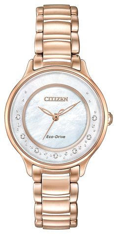 Citizen Circle of Time Women's Quartz Watch with Mother of Pearl Dial Analogue Display and Silver Stainless Steel Rose Gold Plated Bracelet EM0382-86D