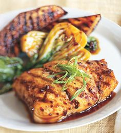 Grilled Halibut, Eggplant, and Baby Bok Choy with Korean Barbecue Sauce - Bon Appétit