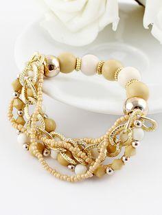 Yellow Bead Gold Chain Bracelet N.Kr.33.51