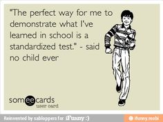 "Haha love this lady- tw  thank you. Im a high school teacher and I love this and totally agree!! ""And the perfect way for me to demonstrate what I've taught in school is a standardized test given to all my students (even the ones that dont ever come) because very child wants to do their very best on a test to make the teacher look good"" - said no teacher ever!"