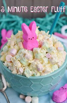This easy dump and go, one-bowl Three Minute Easter Fluff is the perfect addition to your Easter festivities! A delicious dessert salad that everyone will enjoy! The pretty pastel colors make it perfect for baby showers too! // Mom On Timeout Fluff Desserts, Köstliche Desserts, Holiday Desserts, Holiday Recipes, Holiday Treats, Dessert Recipes, Easter Deserts, Easter Snacks, Easter Brunch