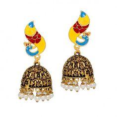 Beautiful Traditional Royal Look Yellow Firozi Color Oxidised Gold Tone #Jhumka #Earrings @eindiawholesale