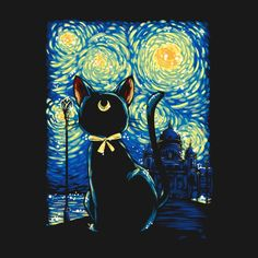 A Sailor Moon parody of the Starry Night by Vincent Van Gogh. Art by Gilles Bone. Inspired by the great Van Gogh, Luna's Starry Night. Sailor Moon Cat, Sailor Moon Crystal, Luna Anime, Dark Paintings, Moon Princess, Moon Painting, Cricut, Arte Pop, Silhouette