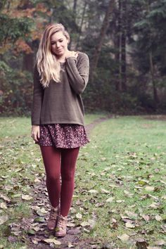 burgundy tights. relaxed weekend