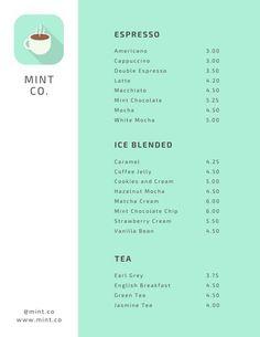 Mint Coffee Shop Menu - Templates by Canva