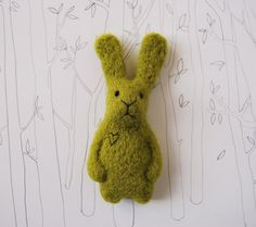 Bunny Brooch, Needle Felted Bunny, Needle Felted Brooch, Felted Animal, Light Green Bunny Pin, Felted Miniature. €20.00, via Etsy.