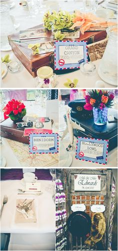 travel theme wedding centrepieces image by Andrea Ellison Photography