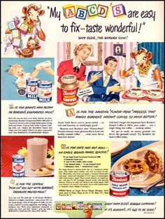 my abcd's are easy Retro Advertising, Vintage Advertisements, Vintage Ads, Vintage Prints, Vintage Food, Retro Food, Retro Ads, Vintage Stuff, Vintage Kitchen