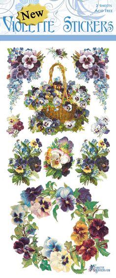 Violette Stickers C20- Pansy Wreath