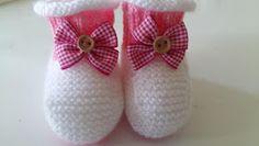 RECEITA TRICÔ FÁCIL: Sapatinho Em Tricô Rosa e Branco