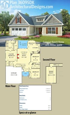 Architectural Designs Cottage House Plan 36095DK gives you 3 bedd and over 1,700 square feet of heated living space PLUS a bonus room over the garage. Ready when you are. Where do YOU want to build?