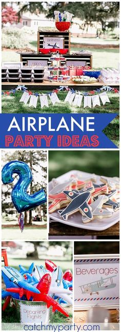 """Lots of great ideas at this airplane birthday party! See more party ideas at <a href=""""http://CatchMyParty.com"""" rel=""""nofollow"""" target=""""_blank"""">CatchMyParty.com</a>!"""