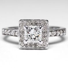 Square Diamond Halo Engagement Ring in 18K White Gold