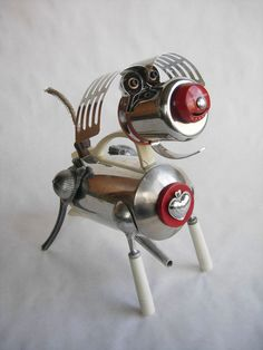 Perky The Robot Dog - Assemblage Sculpture by Recyclo Joe