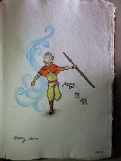 Aang Air Gliding watercolor painting - Bethany Skena 2014 #Waterbrush #Watercolor #painting #ATLA #AvatarTheLastAirbender #Aang #Air #Sumi