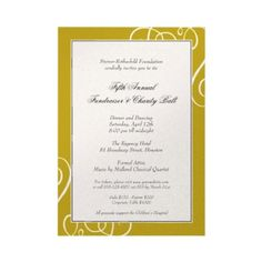 Dark gold frame enchanted swirl gala formal event personalized invitations by FidesDesign