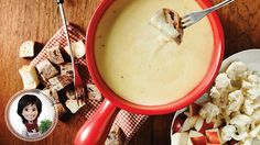 Swiss cheese fondue from Josée di Stasio Swiss Cheese Fondue, Fromage Cheese, Wine Cheese, Fondue Raclette, Cooking Time, Cooking Recipes, Cheese Platters, Recipe Details, Cheese Recipes