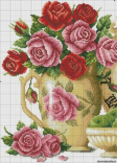 rose - point de croix - cross stitch - Blog : http://broderiemimie44.canalblog.com/