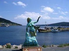 A mermaid guards the entrance to Bay Bulls (Newfoundland)✔✔ Newfoundland Canada, Newfoundland And Labrador, Beautiful Vacation Spots, Canadian Travel, Atlantic Canada, Canadian History, Roadside Attractions, Prince Edward Island, New Brunswick