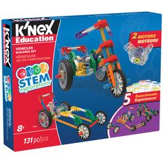 K'NEX® Education STEM Explorations: Vehicles Building Set Explore STEM concepts while building different vehicle models! Using the materials included in this set, elementary-school aged children will be engaged and energized as they further their knowledge and understanding of science, technology, engineering and math concepts.