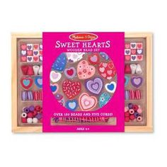 The Melissa & Doug Sweet Hearts Wooden Bead Set allows you to design beautiful wooden jewelry to your heart's content with these lovely heart-shaped beads. A variety of accent beads, all in coordinating colours, will encourage young jewelry makers to create jewelry for every occasion.