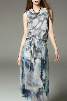 Blue Floral Print Sleeves Long Silk Dress