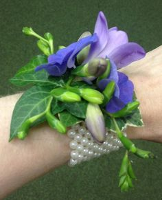 hydrangea wrist corsage | Purple Hydrangea and Freesia Wrist Corsage - Side
