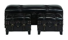 Wood Leather Bench Set Of 3 Fit For Additional Seating Plan Small Bench, Bench Set, Leather Bench, Ottoman Footstool, Metal Buckles, Black Faux Leather, Antiques, 3 Piece, Foot Stools