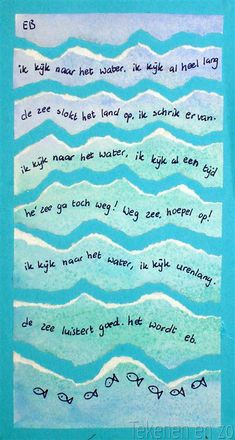 Dutch children wrote poems about the sea: Poet near the sea. A jury has selected forty poems. These poems are printed on signs and placed al. Writing Poetry, Kids Writing, Teaching Writing, Poetry Unit, Teaching Ideas, Teaching Poetry, Writing Ideas, Learning Activities, Poetry Lessons