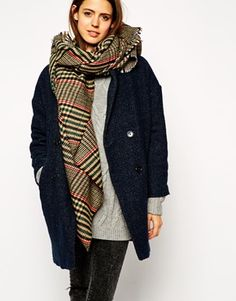 ASOS Tweed Check Oversized Scarf