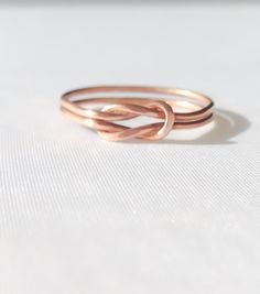 Rose gold love knot ring, celtic love knot ring, 14k gold love knot ring