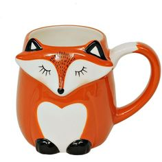 Colorful Fox Mug (£4.88) ❤ liked on Polyvore featuring home, kitchen & dining, drinkware, food and drink, filler, fox mug and ceramic mugs