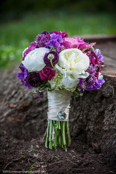Beautiful palette of purples, soft green accents and lush white peonies. Love this bouquet by Irma